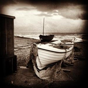 12cm Boats Sepia PRINTED